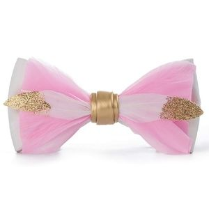 Mens Natural Feather Glitter Pre Tied Bowtie Pink